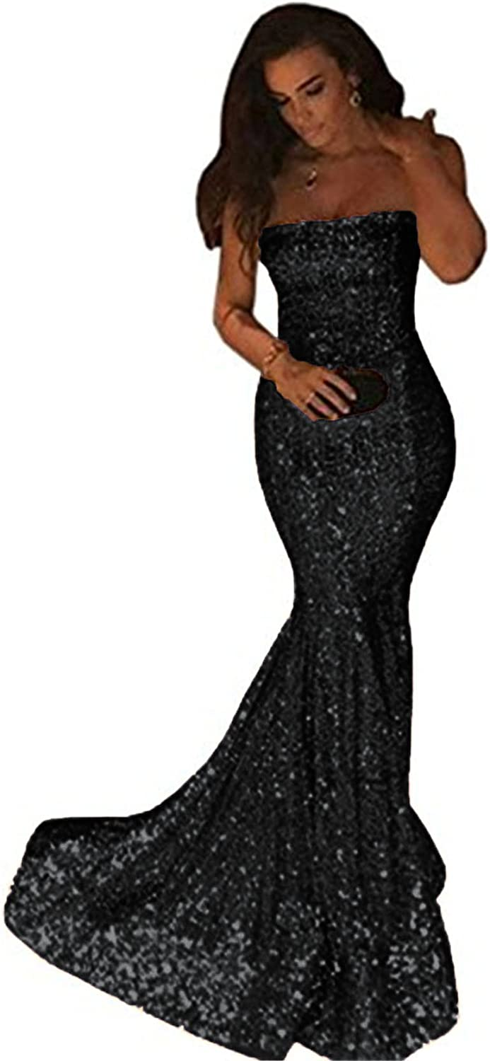 Uryouthstyle Strapless Sequined Mermaid Long Bridesmaid Prom Party Dresses