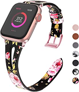 OULUOQI Compatible with Apple Watch Band 38mm 40mm 42mm 44mm Women, 2019 Slim Soft Leather Band Replacement for iWatch Bands Series 5/4/3/2/1