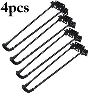 Outgeek Table Leg 4Pcs Folding Hairpin Table Leg Heavy Duty Easy Install Folding Coffee Table Leg 12.6 in (Included 24pcs Screw)