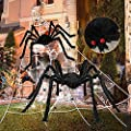 """276"""" Spider Webs Halloween Decorations, 60"""" Giant Spider 36"""" Large Scary Fake Spider Outdoor Yard Lawn Home clearance Party Haunted House Decor"""