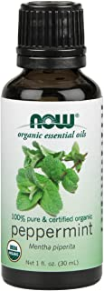 NOW Essential Oils, Organic Peppermint Oil, Invigorating Aromatherapy Scent, Steam Distilled, 100% Pure, Vegan, 1-Ounce