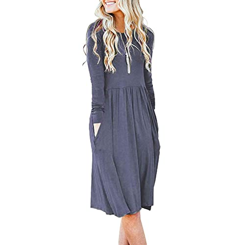 bbcb9b52848 AUSELILY Women s Long Sleeve Pockets Empire Waist Pleated Loose Swing Casual  Flare Dress