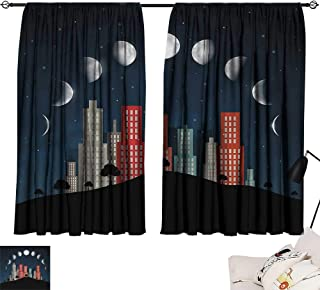 Denruny Teal Curtains Moon Phases,Cityscape Night Trees 84