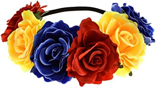 June Bloomy Rose Floral Crown Garland Flower Headband Headpiece for Wedding Festival