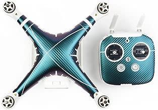 DJI Phantom 3 PVC Skin Decals, TMO Exclusive Water-resistant Skin Decal Kit for DJI Phantom 3 Professional / Advanced Quadcopter Drone Body Shell and Remote Controller (Carbon Fiber Darkcyan)