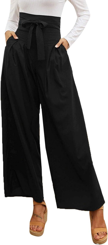 SweatyRocks Women's Denver Mall Casual High Waist Super-cheap Belted with Wide Leg Pants