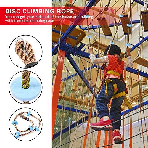 Kinder Kletterseil Schaukel Kinder Kletterseil Baumschaukel mit Scheibe für Spielplatzspielzeug(Blau)