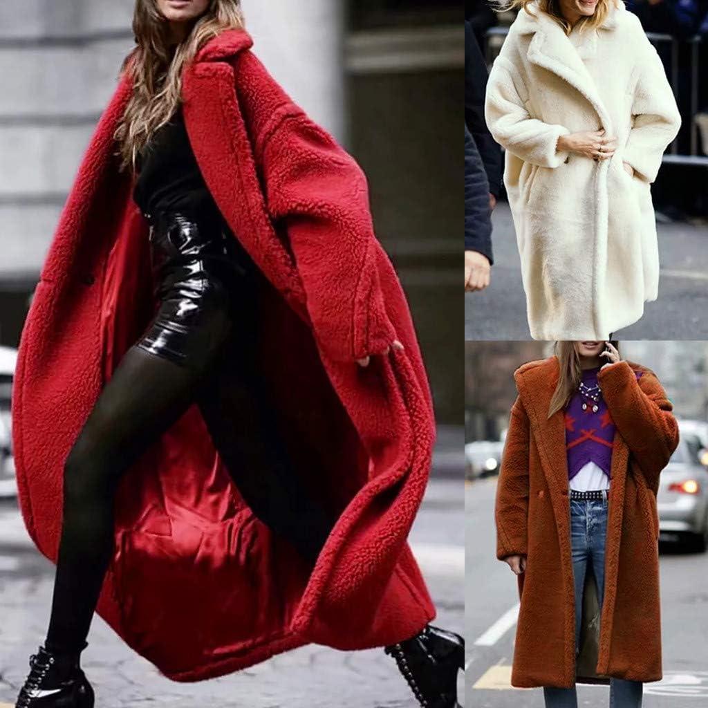 TUDUZ-Damen Mantel Winter Lang Warm Plüsch Dicke Jacke Cardigan Overcoat Strickjacke Tasche Knopf Winterjacke(,) Pink