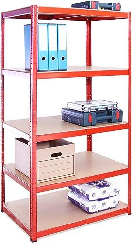 G-Rack Rangement 180 cm x 90 cm x 60 cm, Rouge, 5 étages (265kg par Étagère), Capacité de 1325 kg résistant, très Pro...