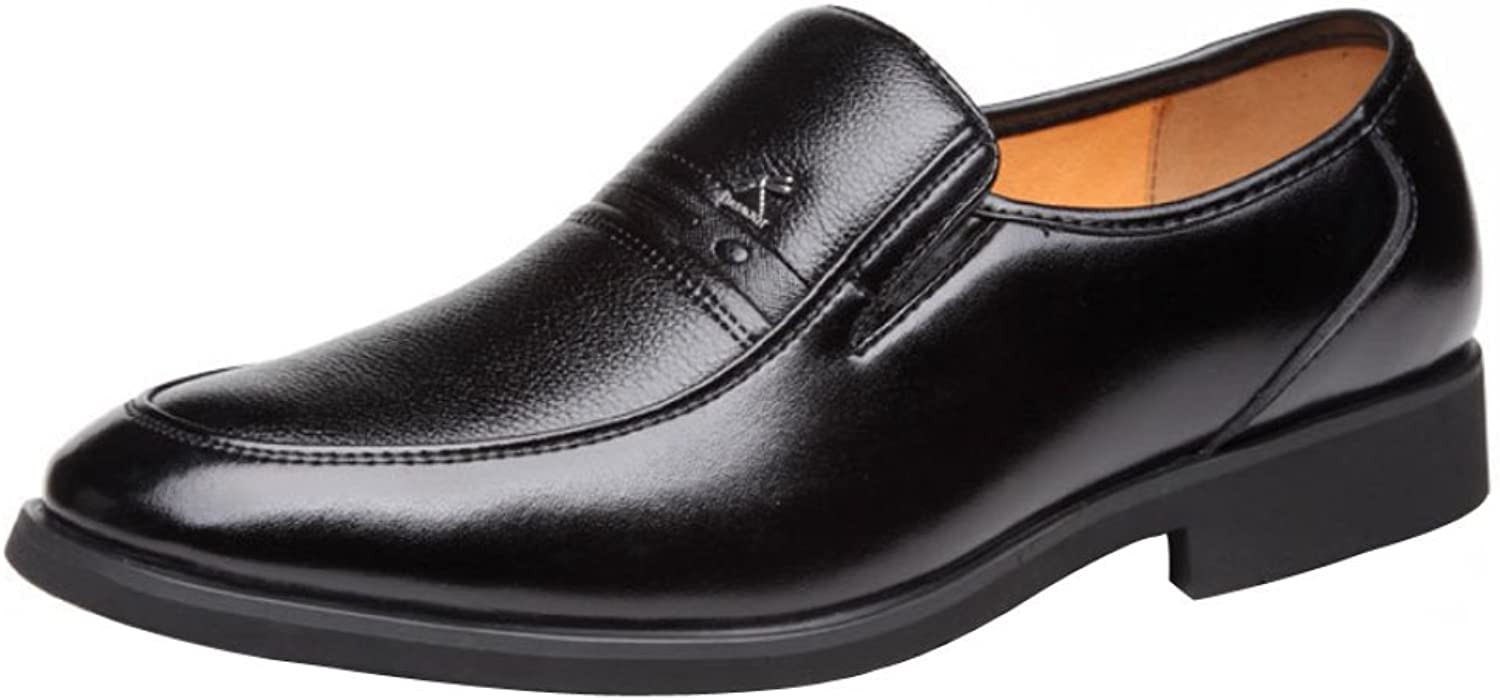 GTYMFH Mens Black Leather Slip On Formal shoes Wider Fitting.