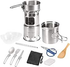 Lixada Camping Cookware Mess Kit Stainless Steel Folding Wood Stove Pot Pan Set Bowls Spoon Spork Tableware Cooking Set(10Pcs/12Pcs)