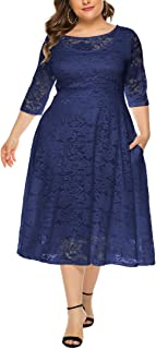 Eternatastic Womens Vintage 1950'S Polka Dot Dress Plus Size V-Neck Dress