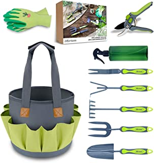Hortem New Garden Tools Set, Heavy Duty 9 PCS Gardening Tools Kit Include Hand Tools, Pruners and Other Gardening Accessories as Gardening Gifts for Women and Men