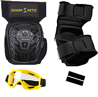 Sharpnetic Professional Knee Pads and Safety Goggles with Protective Glass for Work | Heavy Duty Foam Padding Gel Construction Knee Pads | Knee Pads for Work | Gardening Knee Pads