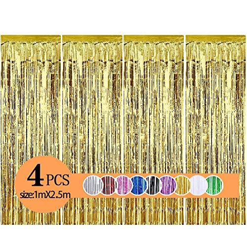 Metallische Lametta Vorhänge/Folie Hintergrund Fringe Vorhänge für Geburtstag Party/Hochzeit, DIY Photo Booth Dekorationen, Tür Fenster Hintergrund Foto Requisiten für Weihnachten(1x2.5m)