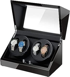 JQUEEN 4 Watch Winder, Quad Watch Winder with Quiet Mabuchi Motor and Dual Power Supply