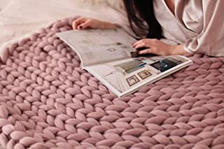 HomeModa Knit Blanket Throw Soft Rug Sofa Bed Lounge Decorator Knitted Small Size Pet Bed Mat Rug (40 x 60 inches- Standard Blanket, Blush)