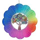CIM Metall Windspiel – Rainbow Hippie Tree - 250mm - leichtdrehendes Windmobile mit brillanten Farben- inklusive Aufhängung – attraktive Raum- Fenster und Garten-Dekoration - Geschenkidee