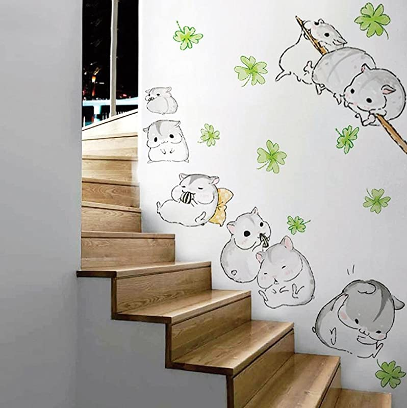Staron Cute Hamsters Wall Stickers Decoration Removable Home Art Decal Decor For Kids Children Bedroom Gray