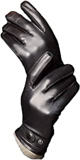 Men's Touchscreen Lambskin Winter Leather Gloves Cashmere Lined Genuine Luxury and Hand Warm Heated Lining Belt Slim Hand Driving Motorcycle Work Gifts, Black 10.0
