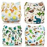 Wenosda 4PCS Pañales de tela para bebés Pañales de bolsillo Pañales reutilizables lavables Inserte el pañal de bolsillo todo de los bebés y niños(Gamo + Elefante + León + Bosque)