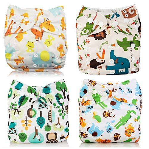 Wenosda 4PCS Baby Taschenwindeln Stoffwindel Waschbare wiederverwendbare Windeln Legen Sie eine All-in-One-Taschenwindel für die meisten Babys (Damwild + Elefant + Löwe + Wald)