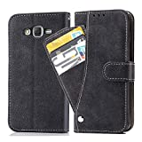 Asuwish Samsung Galaxy J7 2015/J7 NEO Wallet Case,Luxury Leather Phone Cases with Credit Card Holder Slot Kickstand Stand Flip Folio Protective Cover for Samsung Galaxy J7 J700 (2015) Black