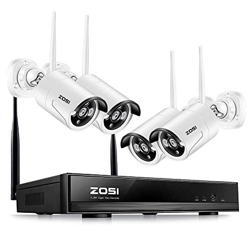 ZOSI Wireless Security Cameras System, 4CH 1080P HD WiFi NVR and 4pcs 100ft Night Vision