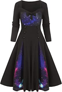 Soluo Long Sleeves Space Galaxy Dress for Women A-Line Print Casual Party Swing Dresses Pleated Vintage Midi Skirts