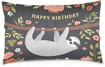 Mydaily Happy Birthday Cute Sloth Throw Pillow Case Cotton Velvet Rectangular Cushion Cover 20x36 inch