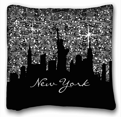 Federe Decorativo Nero E Argento Coriandoli Glitter New York Skyline Federa Coperte E Plaid Fodere per Cuscini Fodere per Cuscini Divano Dimensioni 45X45 Cm
