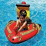 RXDRO Flotador Inflable, Cama Flotante Inflable para NiñOs Barco Pirata con Pistola De Agua, Piscina De Verano Fiesta En La Playa Juguetes Flotantes
