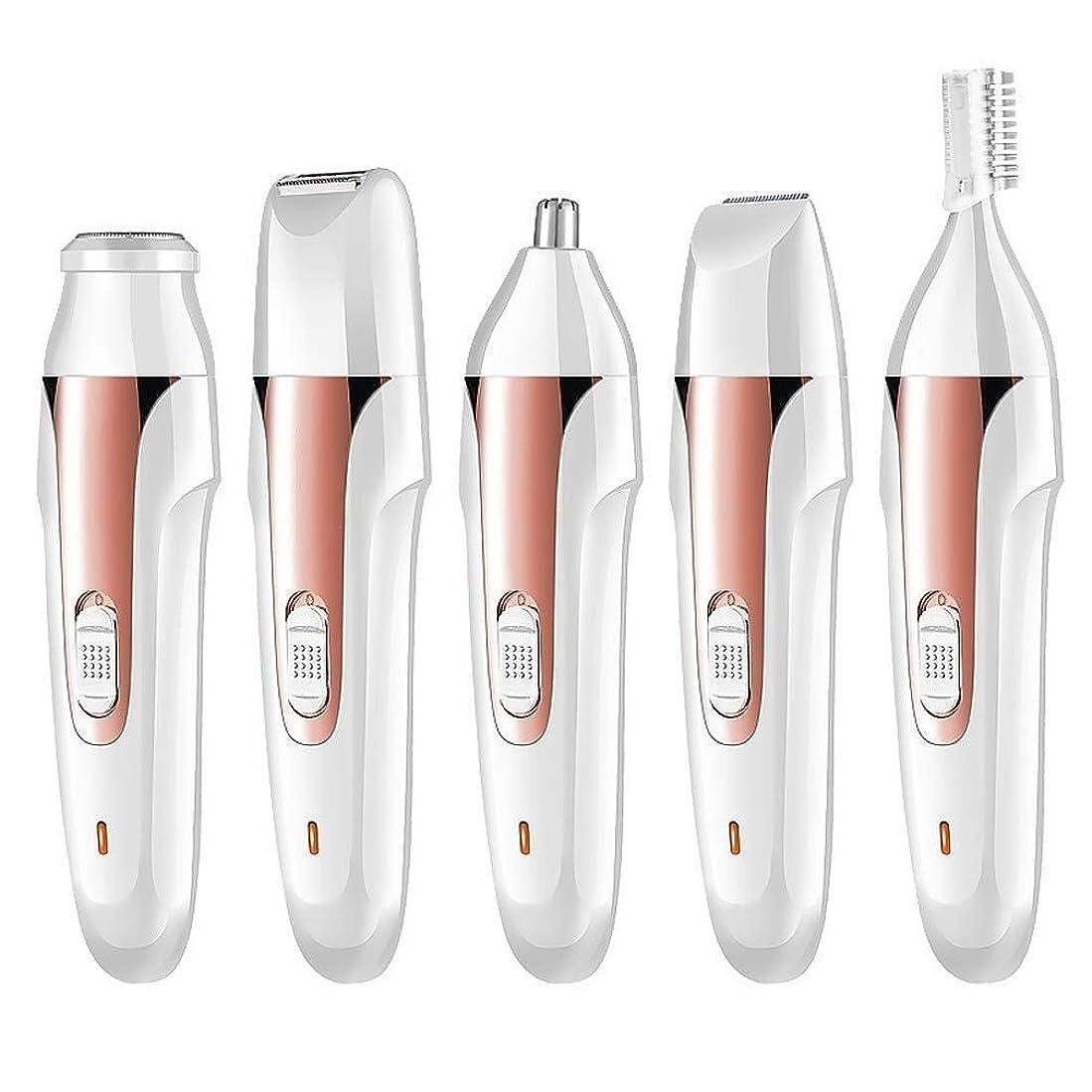 特許区別する凝視ポータブル鼻毛トリマー - 電動脱毛器具、USB充電器、多機能5つ1つ、眉毛形削りナイフ、ユニセックス (Color : 1)