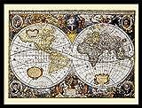 1art1 Mapas Históricos Póster Impresión Artística con Marco (Madera DM) Negro - World Map, 1606 (80 x 60cm)