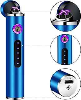 Lighter Plasma Arc Lighter Electronic Lighter USB Electric Lighter Hiking Lighter Rechargeable Lighter Mini Lighter Outdoor for BBQ Camping Candle