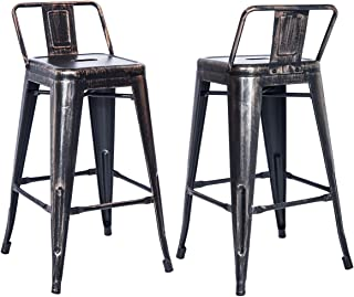 Merax PP038358 Bar Stools Low Back High Feet Indoor and Outdoor 26 Inch Height Metal Chairs Set of 2 (Golden Black)