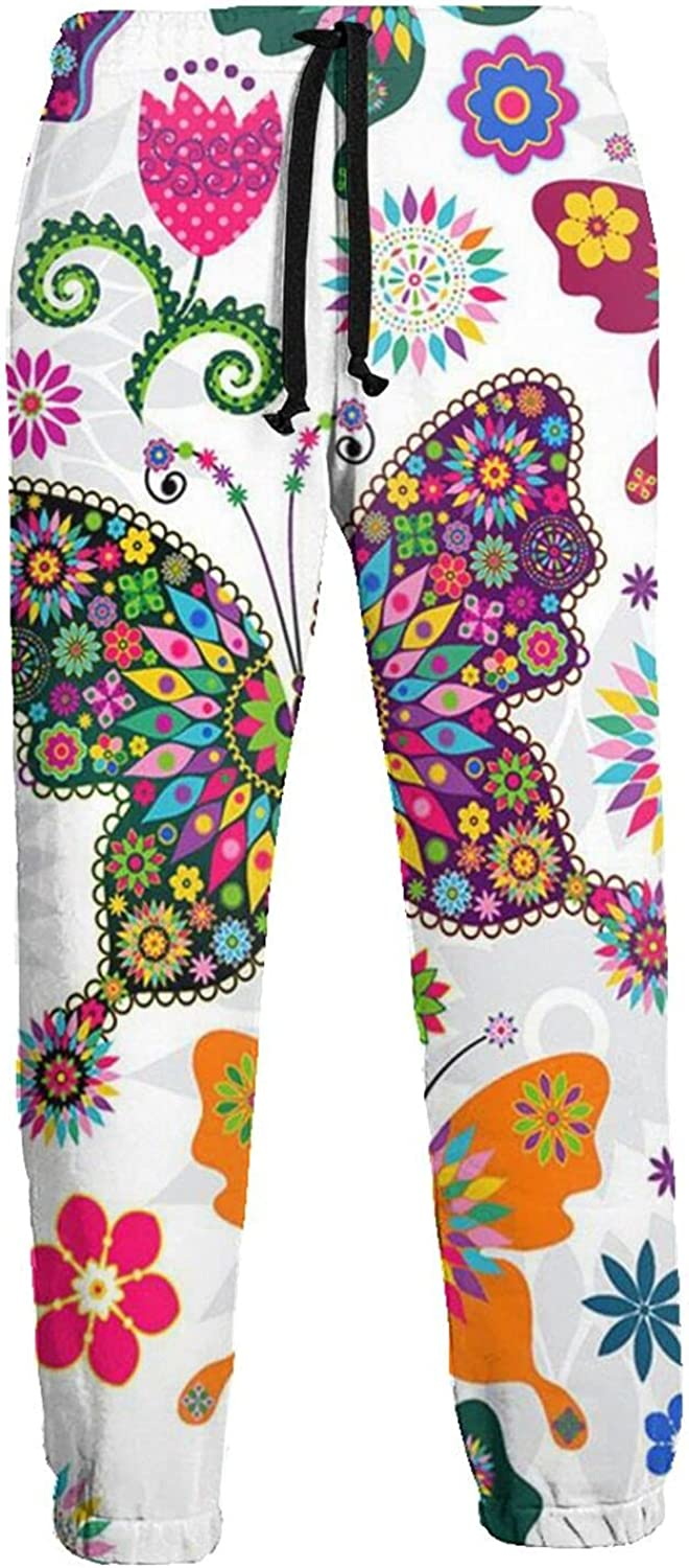 Men's Jogger Sweatpants Colorful Flowers Butterfly 3D Loose Joggers Pants with Drawstring Long Pants