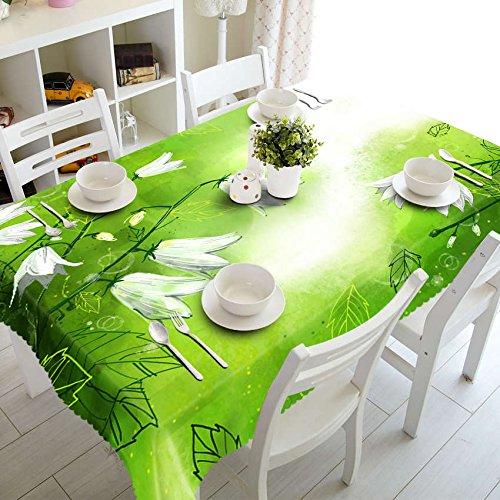 XXDD Mantel Pastoral 3D Mantel Blanco con diseño de Gloria de la mañana Mantel Rectangular Impermeable Lavable A2 150x210cm