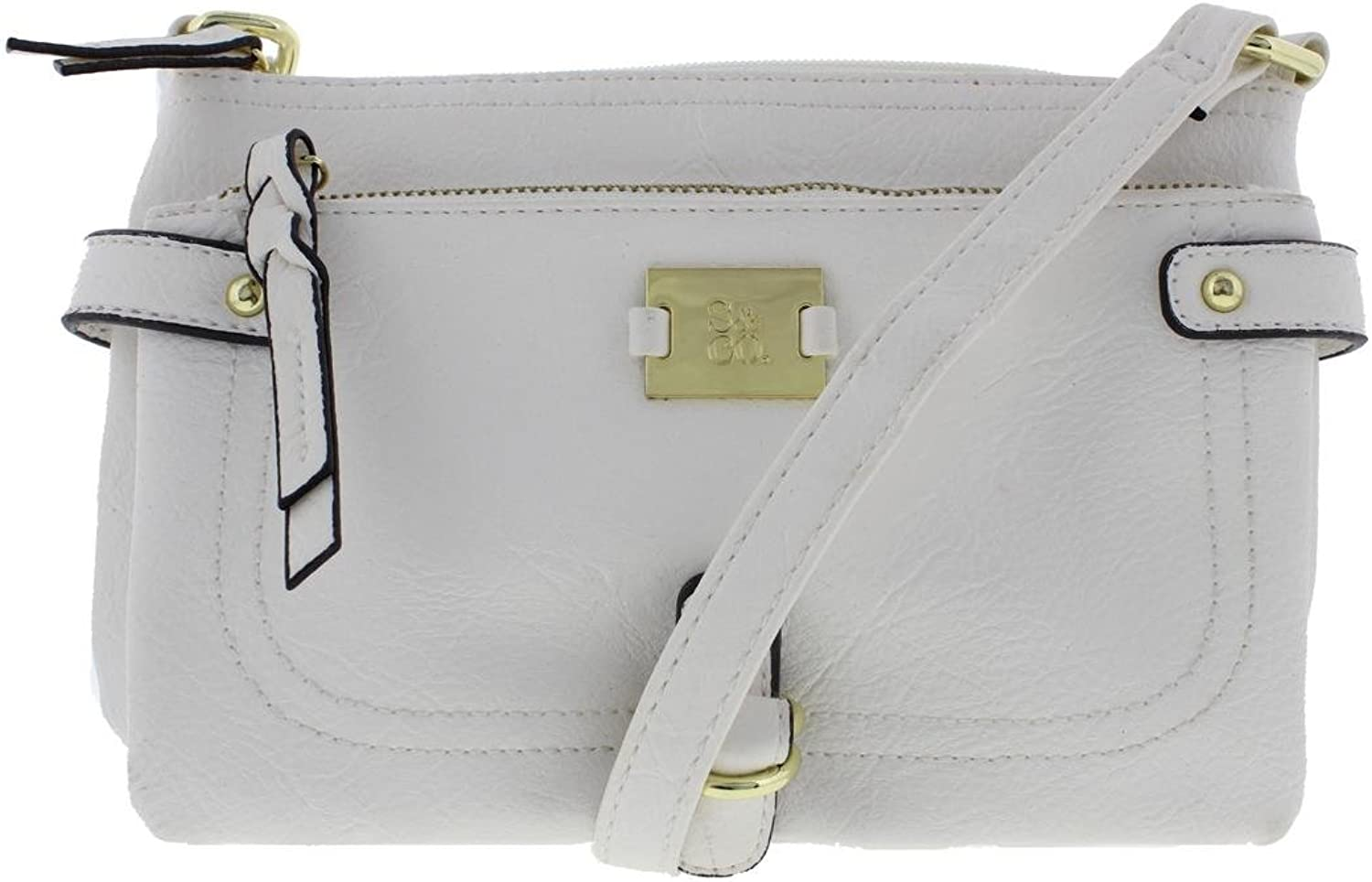 Style & Co. Womens Faux Leather Cargo Shoulder Handbag White Small