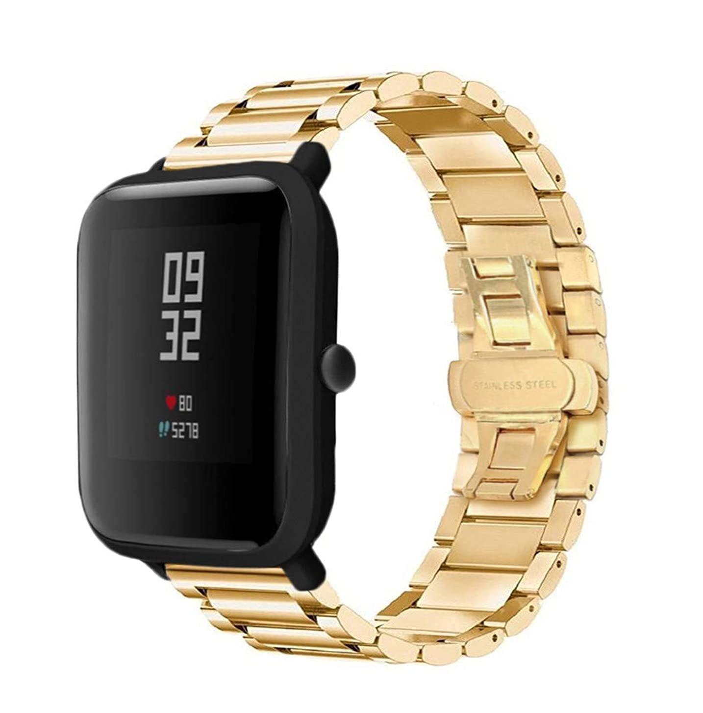 Cywulin Stainless Steel Band for Xiaomi Huami Amazfit Bip Youth Smart Watch, 20mm Solid Metal Replacement Bracelet Wristband Strap Loop Accessories for Galaxy Watch 42mm Active Gear Sport (Gold)