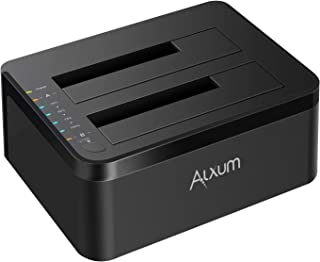 Alxum HDD Docking Station, External USB 3.0 to SATA Hard Drive Docking Station with Offline Clone Function for 2.5 & 3.5 Inch HDD SSD, Support 2 x 12TB & UASP, Black