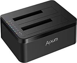 Alxum HDD Docking Station, External USB 3.0 to SATA Hard Drive Docking Station with Offline Clone Function for 2.5 & 3.5 Inch HDD SSD, Support 2 x 10TB & UASP, Black