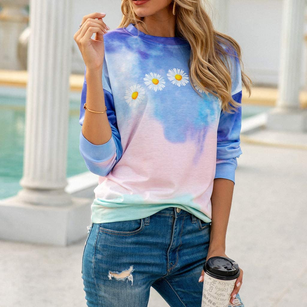 Round Neck Long Sleeve Tees Tie Dye Daisy Print Tops Casual Loose Tunic Blouse Shirts F/_topbu Sweatshirts for Womens