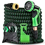 Retround Best Expandable Garden Hose Leakproof Lightweight No-Kinks Flexibility - Extra Strength with 3/4 Inch 9 Function Spray Nozzle with Storage Bag Extra Strength Fabric Water hose 50ft Green