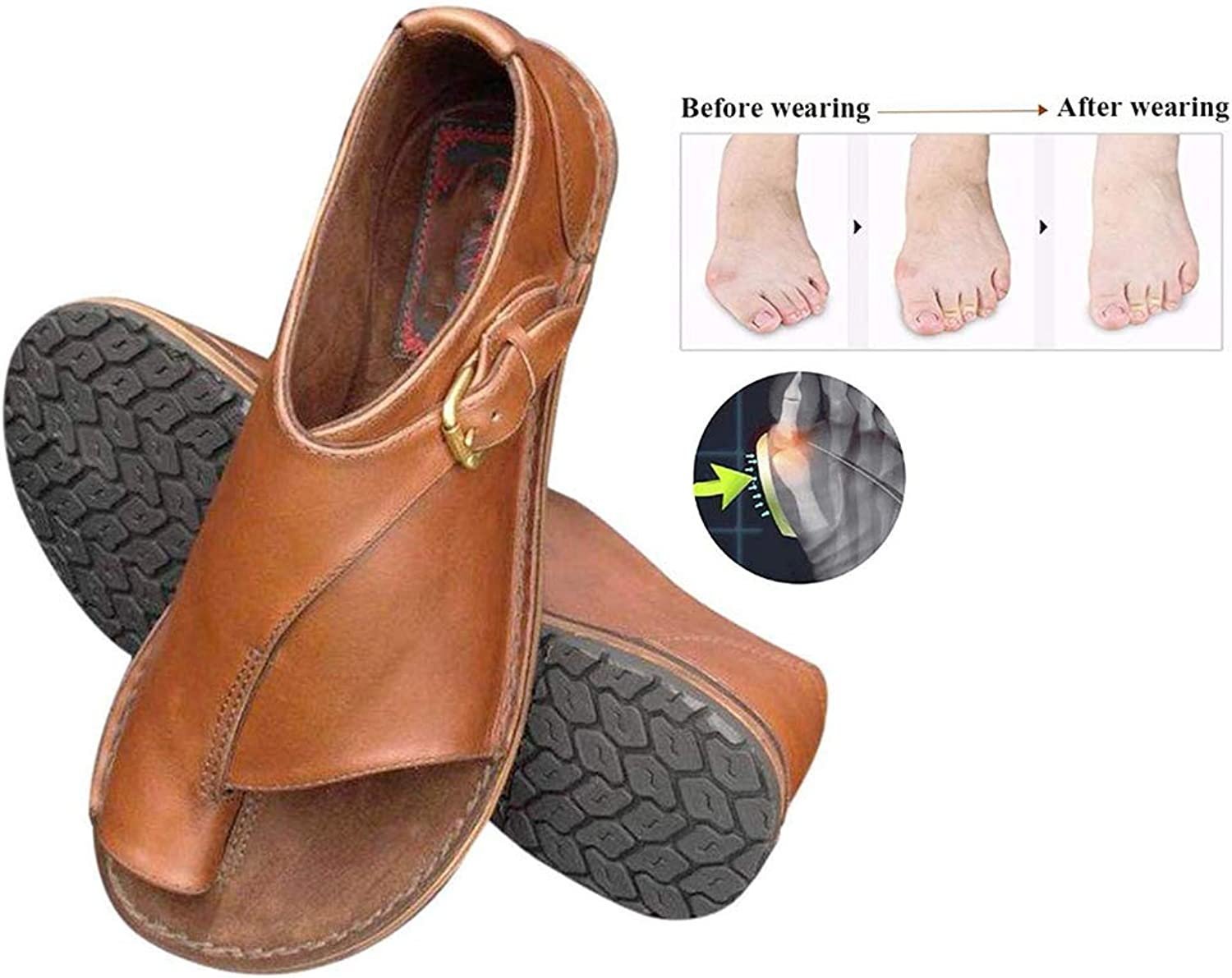 Women Sandals Summer Foot Correction shoes Flat Sole PU Leather Slippers Non Slip Wear Resistant Comfortable Slippers for Orthopedic Big Toe Bone Correction Beach Travel (Brown),Brown,36