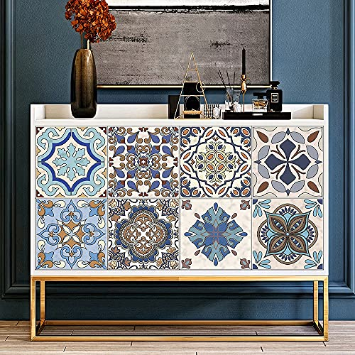 Pegatinas de Baldosas para Baño y Cocina, Hiser 10 Piezas Impermeable Azulejos Pegatinas Adhesivo Decorativo para Azulejos Pegatina de Pared (Mandala,20x20cm)