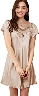 DREAM SLIM Comfy Delicately Satin Sleepshirt Nightdress Sleepwear for Women S-XL