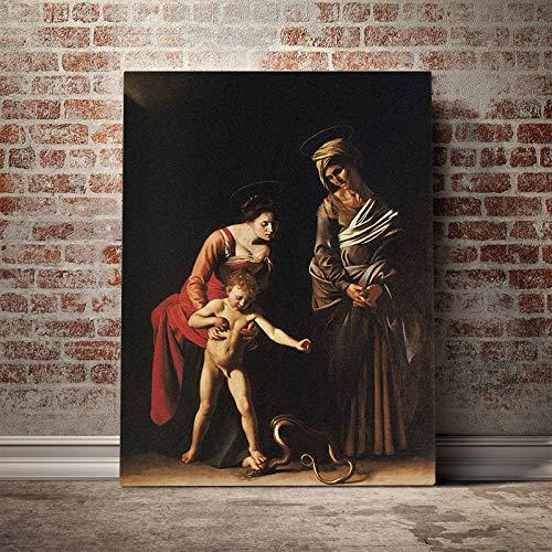 wopiaol Senza Telaio Madonna con Bambino e Sant'Anna Caravaggio Poster su Tela Pittura murale Decorazioni d'Arte Soggiorno Decorazioni Camera da Letto Stampe