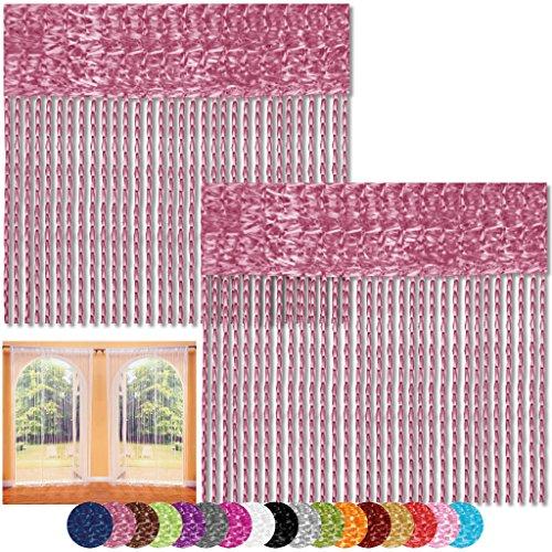 Bestlivings Fadenvorhang 2er Pack Gardine Raumteiler, Auswahl: 90x240 Altrosa - Fuchsia