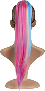 MapofBeauty 20 Inch/50cm Charm Long Straight Hair Colorful Gripper Ponytail (Light Gold/Water Blue/Pink)
